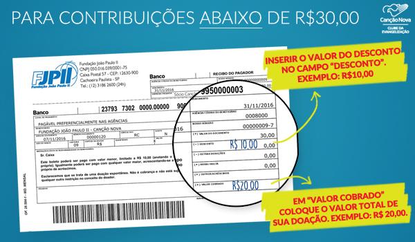 contribuições abaixo de R$ 30,00