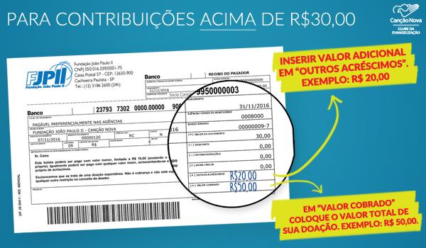 contribuições acima de R$ 30,00