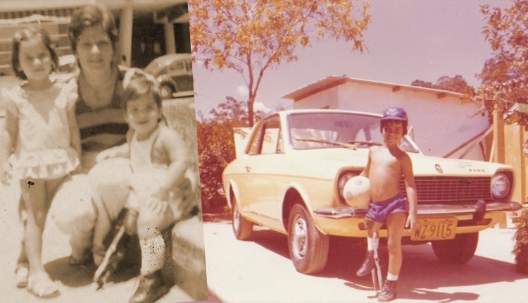 Augusto Cesar na infância com sua mãe e irmã. Foto: Arquivo Pessoal