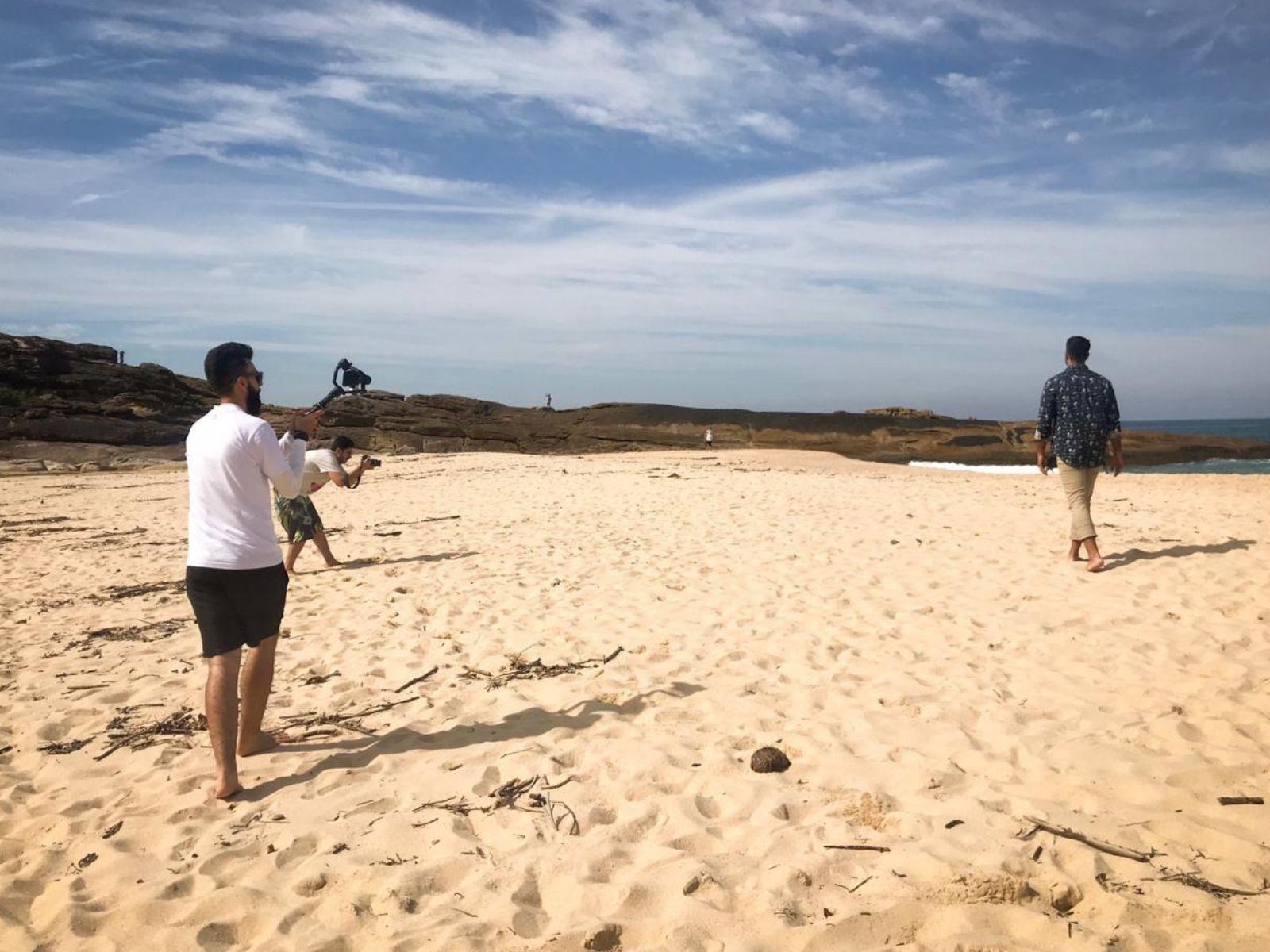 Bastidores na praia