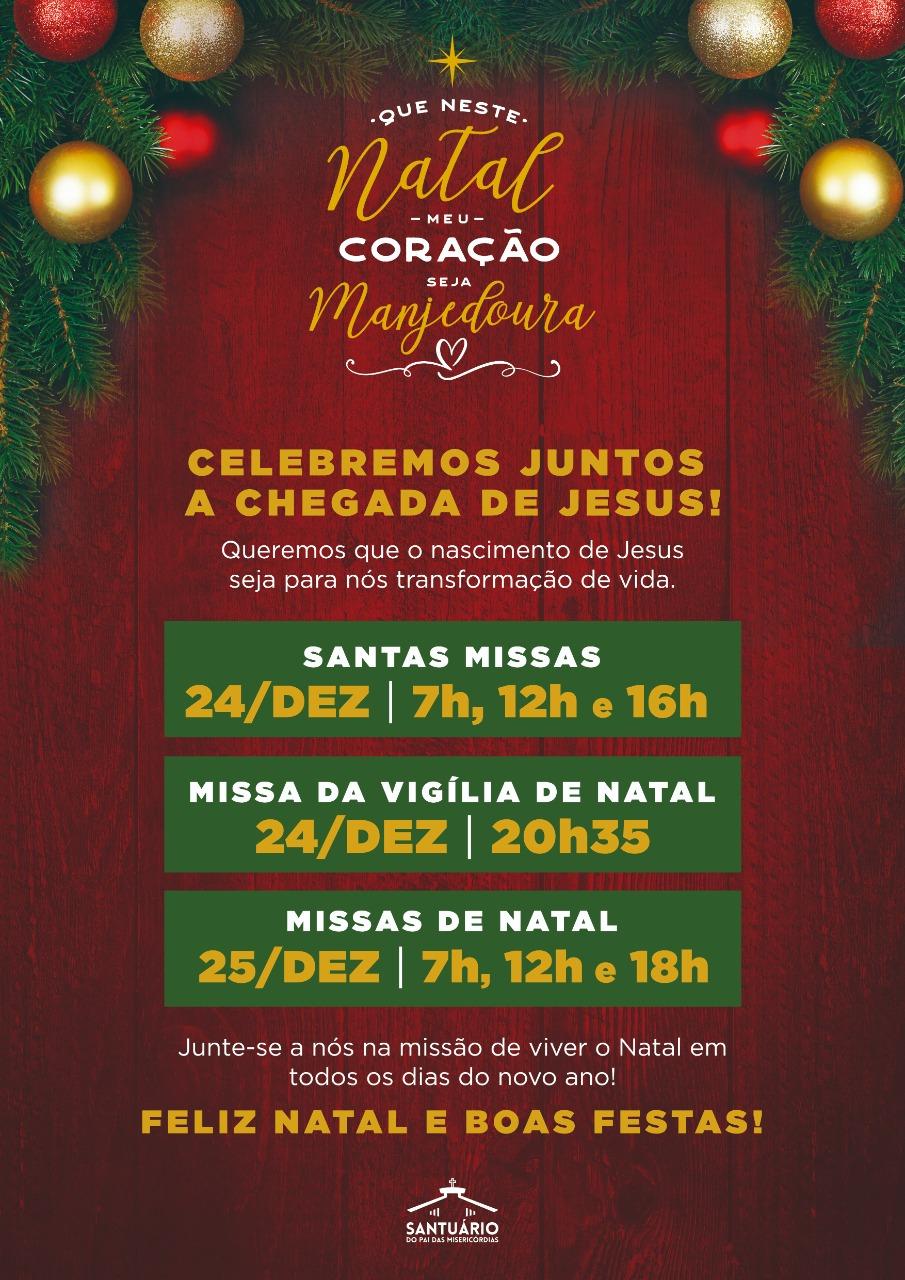 horario das missas de natal - santuario