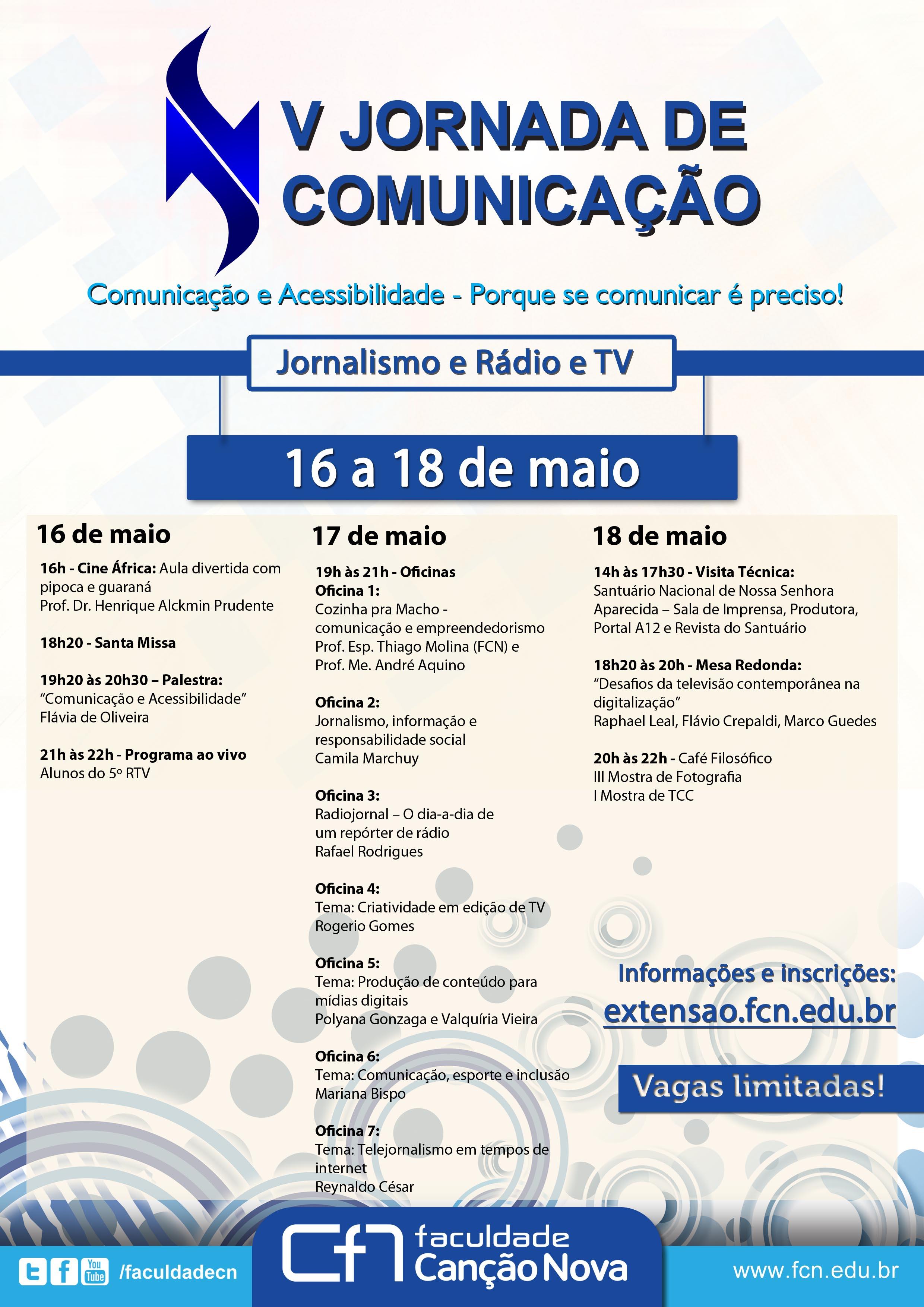 Cartaz Jornada de Comunicação - Programação