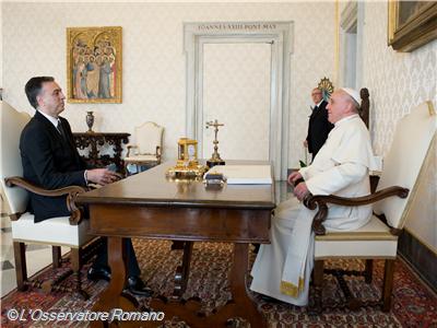 Papa Francisco recebe presidente da República de Montenegro