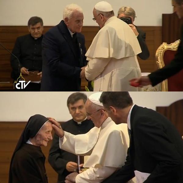 Francisco cumprimentou padre e freira que deram testemunho dos tempso de perseguição comunista / Foto: Montagem-Reprodução CTV
