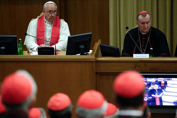 Papa Francisco durante o Consistório desta manhã / Foto: L'Osservatore Romano
