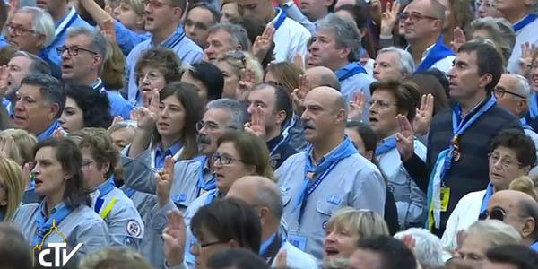 Escoteiros renovam sua promessão na presença do Papa Francisco / Foto: Reprodução CTV