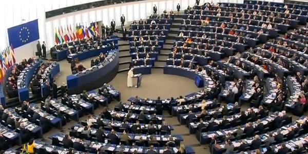 Papa discursa na sede do Parlamento Europeu / Foto: Reprodução CTV