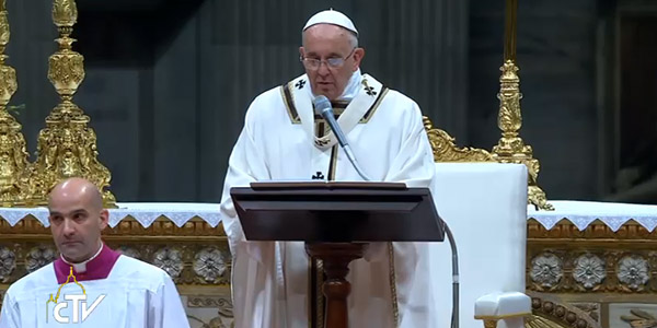 Papa Francisco durante a homilia na Missa do Natal / Foto: Reprodução CTV