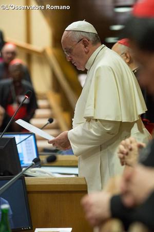 Papa Francisco durante discurso na assembleia sinodal / Foto: Arquivo-L'Osservatore Romano