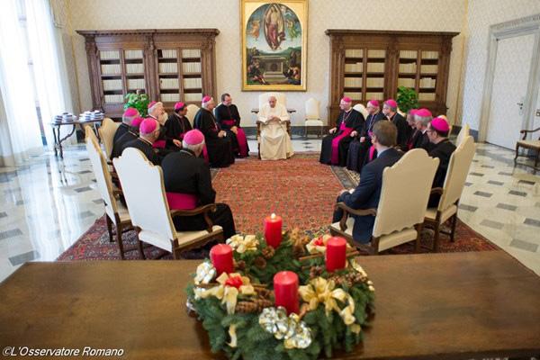 Papa reunido com os bispos da Suíça nesta segunda-feira, 1º / Foto: L'Osservatore Romano