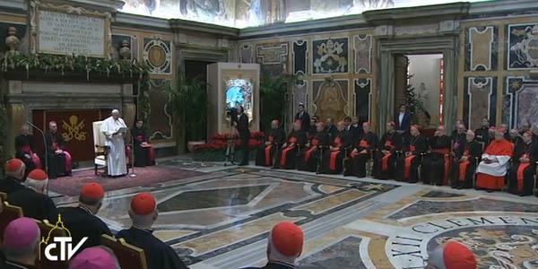 Francisco alerta a Cúria Romana sobre tentações às quais ela está suscetível / Foto: Reprodução CTV