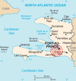 Representação geográfica do local onde aconteceu o terremoto de 2010 no Haiti / Imagem: Domínio público