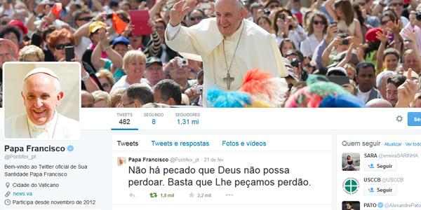 Conta do Papa em português (@Pontifex_pt) registra 1 milhão e 300 mil seguidores / Foto: Reprodução