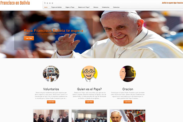 Página oficial da visita de Francisco à Bolívia / Crédito: Reprodução