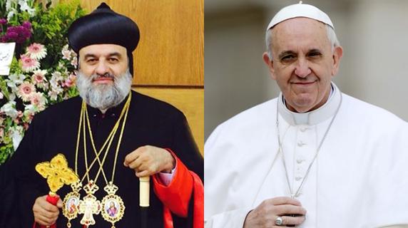 O Patriarca Ignatius Aphrem II e o Papa Francisco, que se encontraram nesta manhã / Foto: Montagem-Arquivo