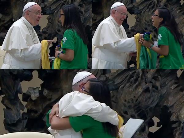 Primeiro, Ana ouve à pergunta do Papa; na resposta, os risos e, em seguida, o abraço fraterno / Foto: Montagem - Reprodução CTV