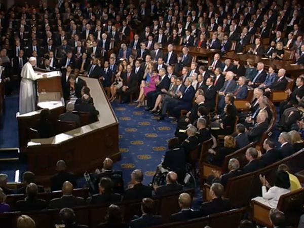 Francisco é o primeiro Papa a discursar no Congresso dos Estados Unidos / Foto: Reprodução CTV