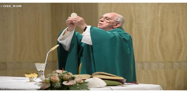Papa Francisco na missa desta quinta-feira, 10. Foto: L'Osservatore Romano.