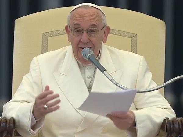 Francisco durante a catequese desta quarta-feira / Foto: Reprodução CTV