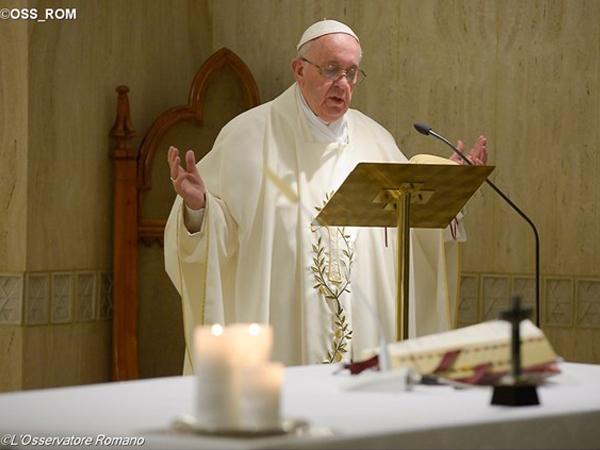 Francisco durante homilia na Casa Santa Marta / Foto: L'Osservatore Romano