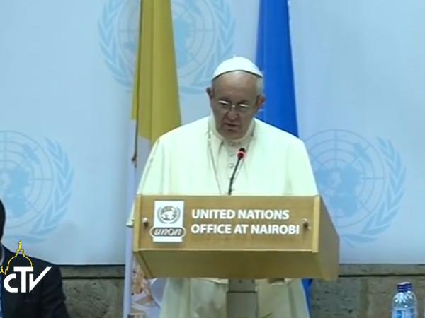 Papa durante seu discurso no escritório da ONU em Nairóbi / Foto: Reprodução CTV