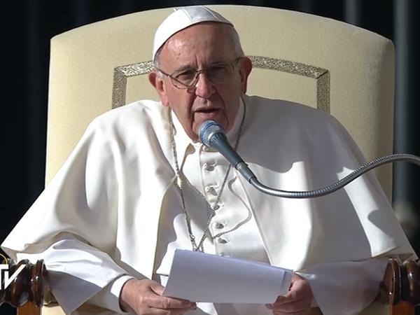 Francisco durante a catequese desta quarta-feira, 2 / Foto: Reprodução CTV