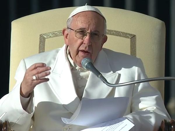 Papa Francisco durante a catequese de hoje / Foto: Reprodução CTV