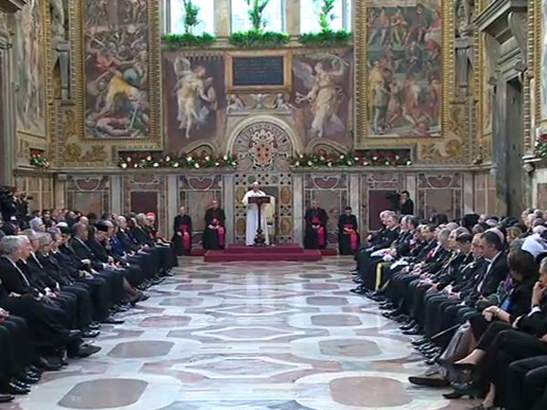 Francisco reunido com embaixadores no Vaticano / Foto: Reprodução CTV