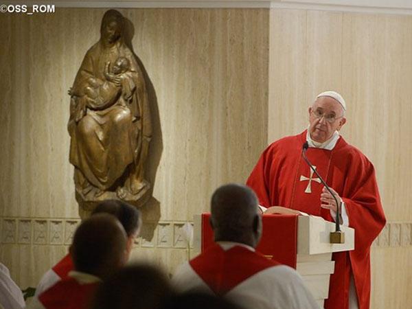 Papa durante celebração eucarística na Casa Santa Marta / Foto: Reprodução CTV