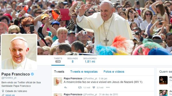 Conta do Papa no twitter em português tem 1,8 milhões de seguidores / Foto: Reprodução Twitter