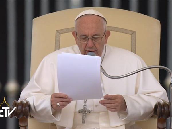 Papa Francisco durante a Audiência Geral desta quarta-feira, 25 / Foto: Reprodução CTV