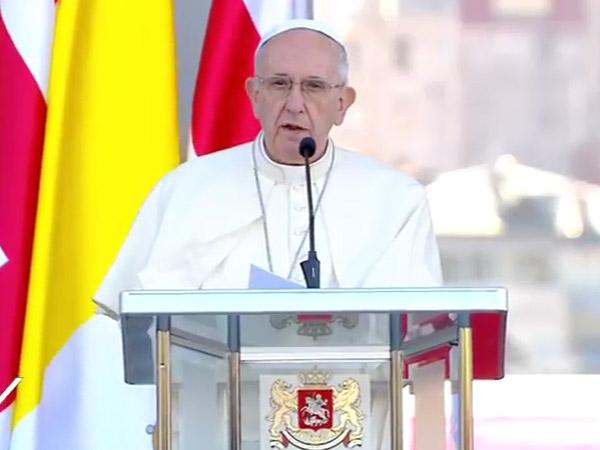 Papa faz seu primeiro discurso na Geórgia / Foto: Reprodução CTV
